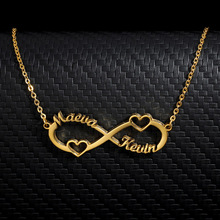 Stainless Steel Custom Name Infinity Necklace Women Girls Gold Silver Personalized Long Chain Necklace BFF Jewelry Bijoux Femme