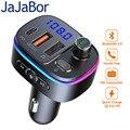 JaJaBor Bluetooth 5,0 автомобильный комплект беспроводной fm-передатчик громкой связи Автомобильный MP3-плеер USB быстрая зарядка 3,0 Активация голосово...