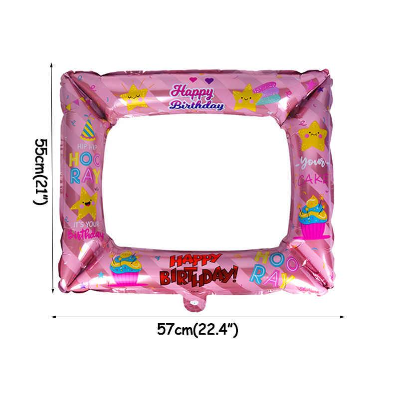 Weigao Biru Pink Balon Aluminium Foil Photo Frame Photo Booth Alat Peraga Selamat Ulang Tahun Keluarga Pesta Dekorasi Bingkai Foto