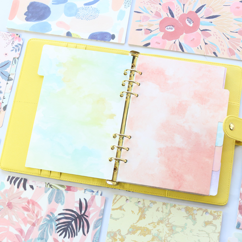 Domikee Candy Kawaii School Student 6 Holes Paper Index Divider For Binder Diary Planner Spiral Notebook Stationery,5sheets,A5A6