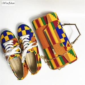 Image 4 - WENZHAN yüksek topuk ayakkabı karışık afrika pamuk balmumu kadın ayakkabı pompaları eşleşen el çantası setleri 36 43 912  4