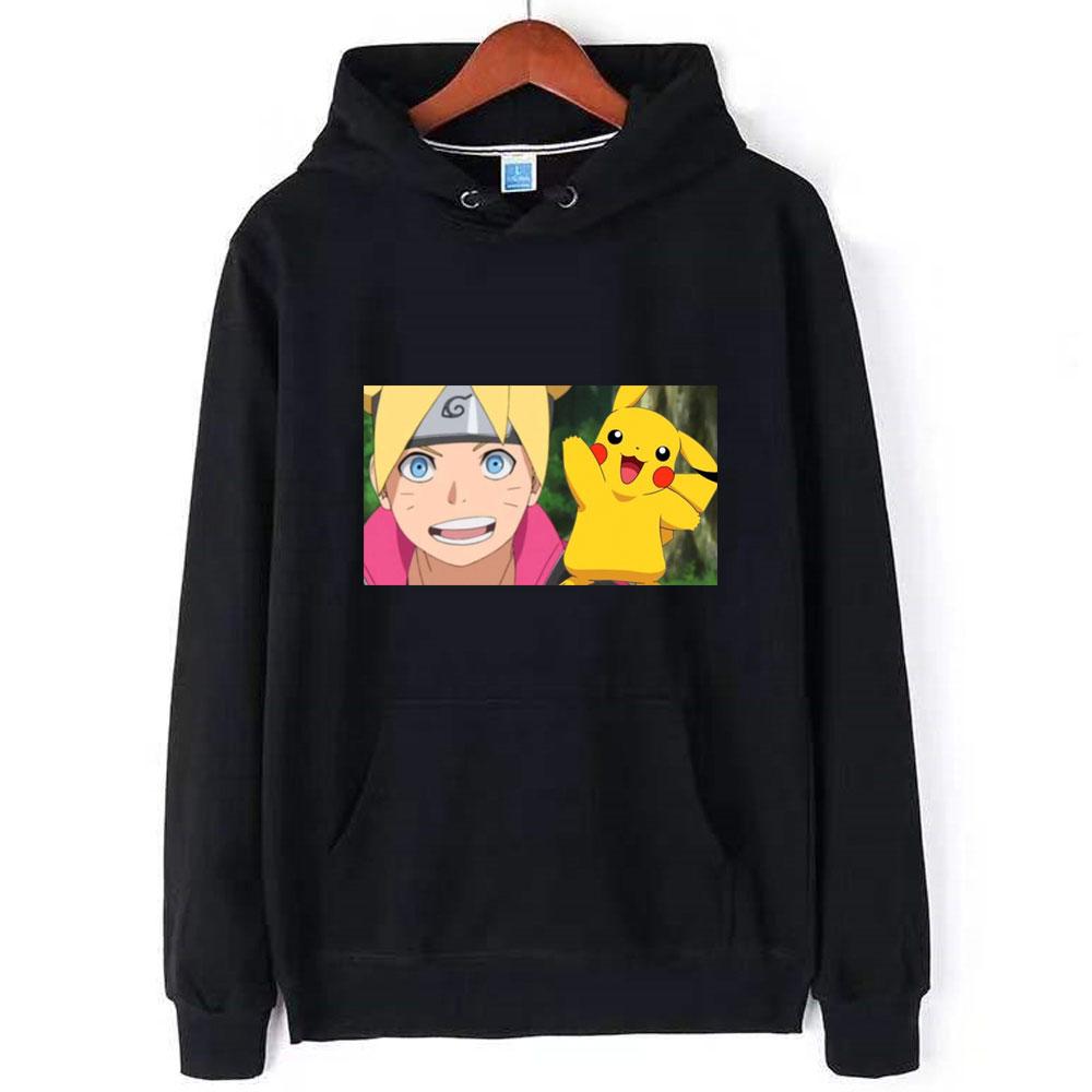Long Sleeve Fashion Japanese Anime Lovely Pokemon Mens Hoodie  Hoodies Pikachu Man Cotton Hoody Sweatshirt