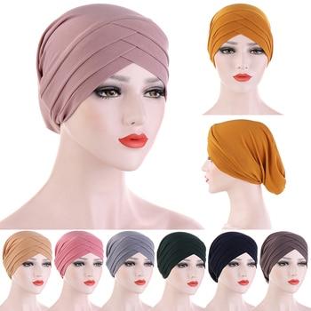 Women Muslim Hijab Scarf Inner Turban Caps Islamic Cross Headband Turban Headwrap Hairband Muslim Headscarf Hair Accessories 2020 chiffon muslim headscarf polka dot print square scarf hijab for women islamic turban headwrap malaysia bawal hijab shawl