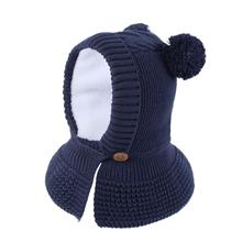 New Design Baby Knitting Hat Cap Fur Ear Winter Warm Beanie Hat Children Windproof Hat Scarf Boy Girl Handmade Knitted Caps striped rib knitting warm beanie hat