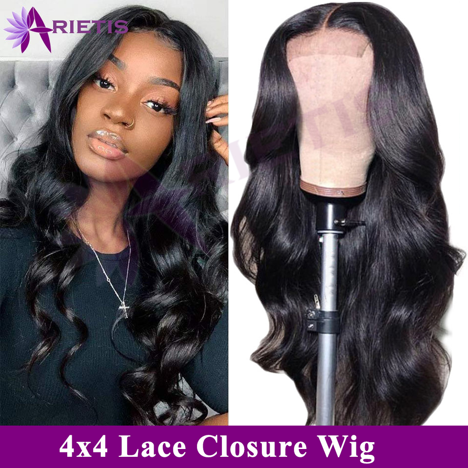 Arietis Hair 4X4 Body Lace Closure Wig 100% Human Hair Brazilian Wig Remy Hair Lace Closure Wig For Black Women
