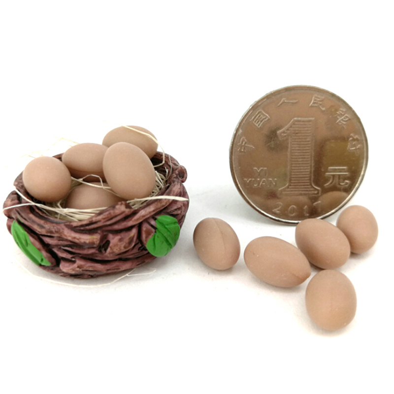 10pcs Mini Egg With Basket Kitchen Food 1/12 1/6 Dollhouse Miniature Accessories Classic Toys