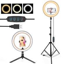 СВЕТОДИОДНЫЙ Кольцо с штатив 55 110 160 см держатель телефона селфи RingLights Камера для видеосъемки в студии огни для Ютубер TikTok Live