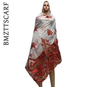 Image 2 - באיכות גבוהה אפריקאי נשים צעיפים רך שיפון צעיף אחוי עם נטו כבד שיפון צעיפים עבור להתפלל צעיפים BM772