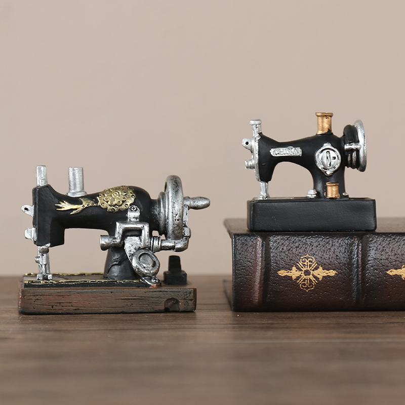 Creative Resin Sewing Machine Statue Figurines Miniatures Souvenirs Mini Sewing Machine For Modern Home Office Decor Crafts in Figurines Miniatures from Home Garden