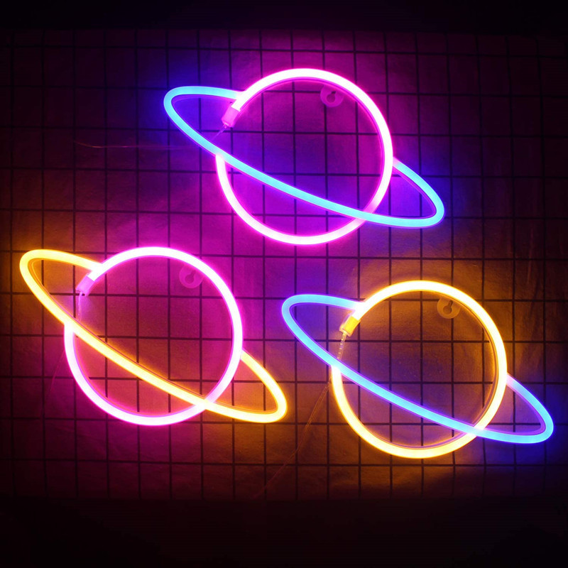 Planet Bar Neon Sign Light Party Wall Hanging LED  for Xmas Shop Window Art Wall Decor Neon Lights Lamp USB or Battery Powered