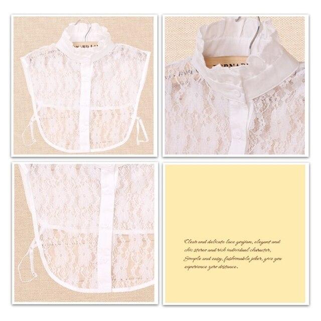 Faux col ras du cou en dentelle pour femmes, couleur Pure, faux collier à revers détachable