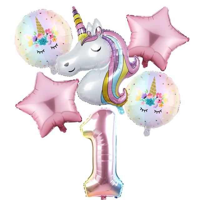 6 pcs/lot licorne ballon arc-en-ciel dégradé 32 pouces numéro 1 2 3 4 5 6Th garçon et fille anniversaire fête de mariage ballons décorations