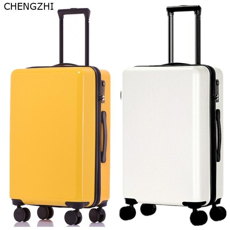 CHENGZHI Мода Высокое качество 20 24 26 дюймов ABS + PC чемодан на колёсиках Спиннер чистый цвет Дорожный чемодан на колесиках