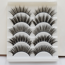 5Pairs Multi-styles 5D Mink Hair Thick False Eyelashes Wispy Cross Fluffy Curl Fake Lashes Extension Handmade Makeup Beauty Tool