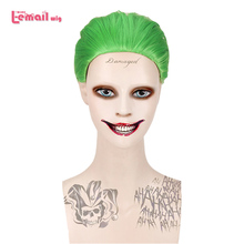 L-email wig Joker Cosplay Wigs Clown Halloween Cosplay Wig Joker Men Movie Green Short Heat Resistant Synthetic Hair Perucas l email wig new fgo game character cosplay wigs 10 color heat resistant synthetic hair perucas men women cosplay wig