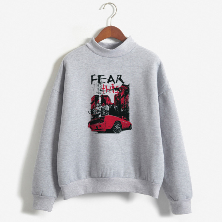 Women Hoodies Gray Autumn Tops FEAR Letter Printed Hood Hoodies Winter Under-wear Basic Sweatshirts Light Sports Running Wear