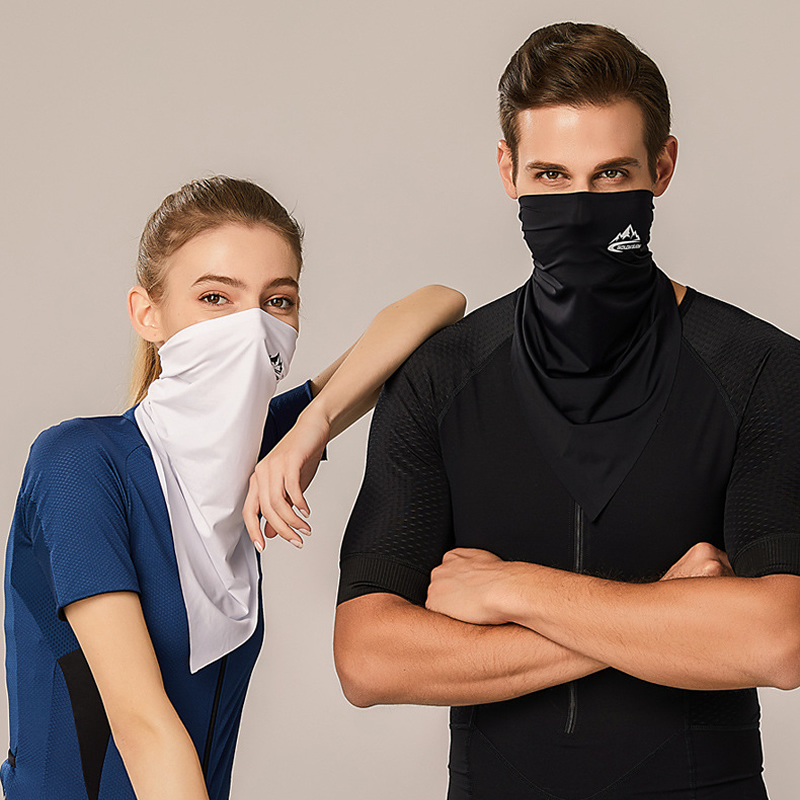 UPF50+ Triangle Scarf Cooling Traceless Half Face Mask Men Women Face Shield Bandanas for Summer Outdoor Sport Cycling Hiking 5