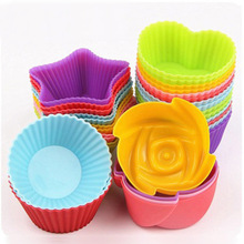 цена на New 6PCS/Set 7cm Silicone Creative Cake Mould Round Heart Shaped Flower Star Style Silicone Baking Cake Cup Cake Mould