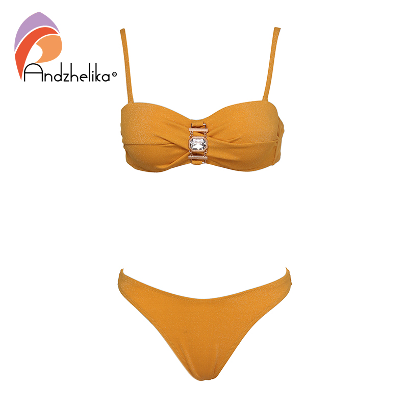Andzhelika Sexy Bandeau Bikini Women Swimsuit Push Up Bikini Set Metal Diamond Swimwear Brazilian Beach Bathing Suit Monokini