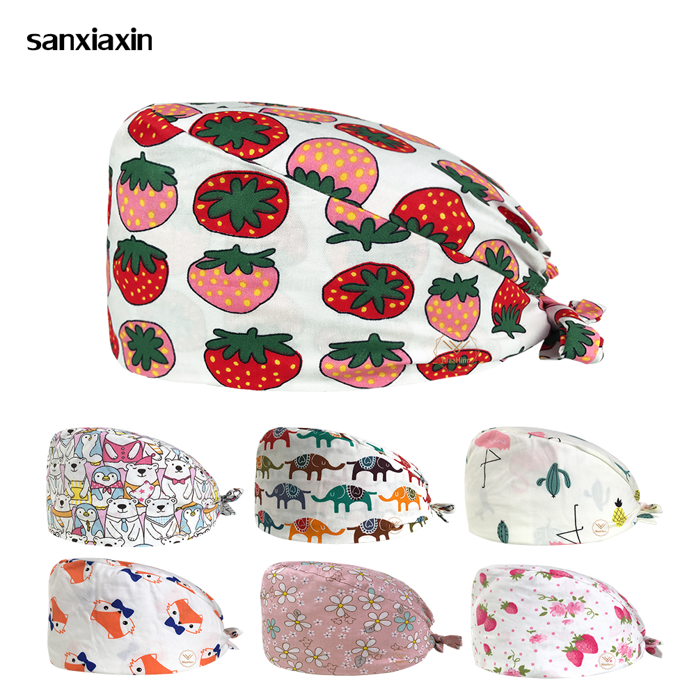 Cotton Work Hat Unisex Medical Doctor Nurse Surgical Cap Floral Printing Beauty Salon Cap Scrub Lab Clinic Dental Operation Hat