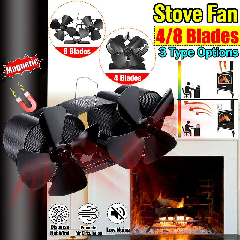 Single Dual Head Fireplace Heat Powered Stove Fan Komin Log Wood Burner Eco Friendly Quiet Fan Home Efficient Heat Distribution