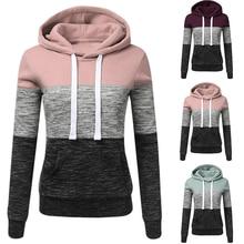 SHUJIN Women Sweatshirts Autumn Winter Hoodies Long Sleeve Hoody Ladies Zipper Pocket Patchwork Hooded Sweatshirt Female Outwear