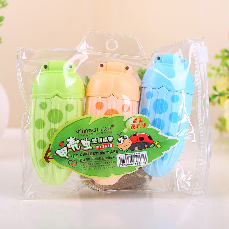3 PCS Cute Insect Correction Tape New Creative Design Correction Tape 3 Colors Mixed Set Use Smoothly Kawaii Stationary