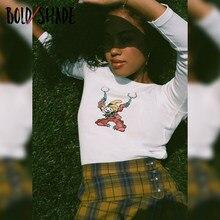 Bold Schatten Vintage 90s Grunge Fashion Tees Gedruckt Crewneck Langarm Crop Tops Streetwear y2k Stil Herbst Frauen Indie outfit