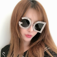 OLOEY Imitation Diamond Big Frame Charm Brand Sunglasses Women Letter DG Fashion Trend 2018 Celebrity Cheap Glasses UV400