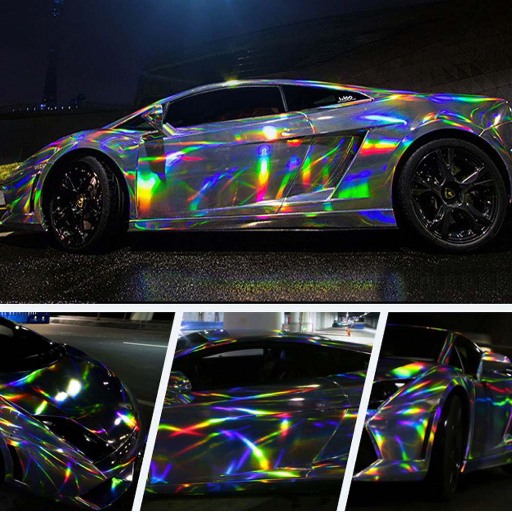 Automobiles Decoration Holographic Chrome Rainbow Car Stickers Laser Plating Car Body Wrap Vinyl Film-in Car Stickers from Automobiles & Motorcycles