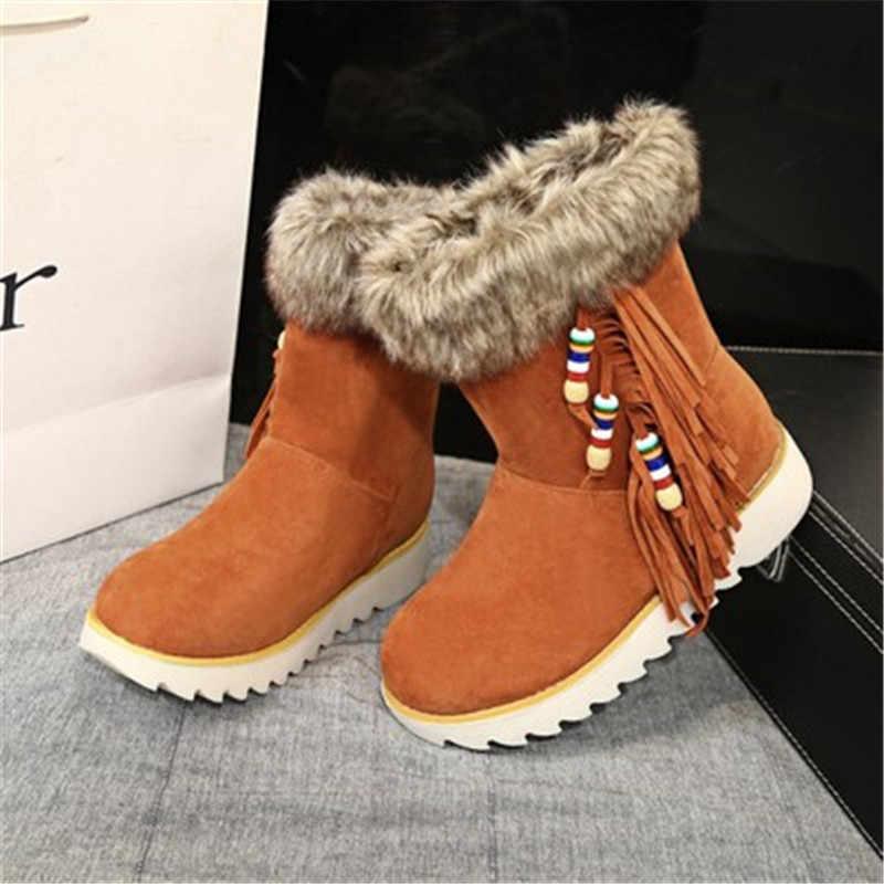 2019 zima nowy gruby śnieg buty damskie krótkie rurki grube ciepłe tassel damskie bawełniane buty płaskie buty