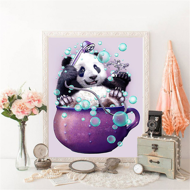 HUACAN DIY Diamond Painting 5D Panda Decorations For Home Diamond Mosaic Cross Stitch Animal Embroidery Handmade