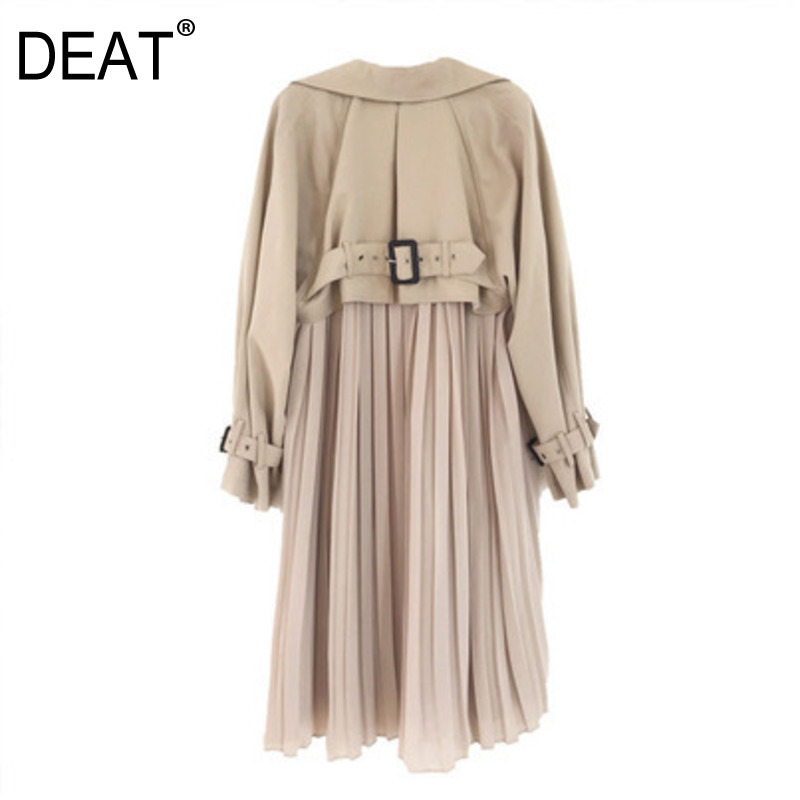 DEAT 2019 Autumn Winter New  Fashion Trend Clothing Long-sleeved Solid Color Solid Color Long Cardigan Coat WI309