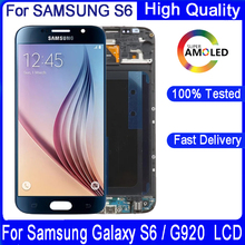 100% Original 5,1 zoll SAMSUNG S6 LCD Display Für SAMSUNG Galaxy G920 G920F SUPER AMOLED LCD Mit Rahmen Touch Digitizer montage