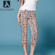 AELESEEN 2019 Autumn Runway Print Cropped trousers Women On Sale Luxury Diamonds & Rivet Vintage Elegant Calf-Length Flare Pants(China)
