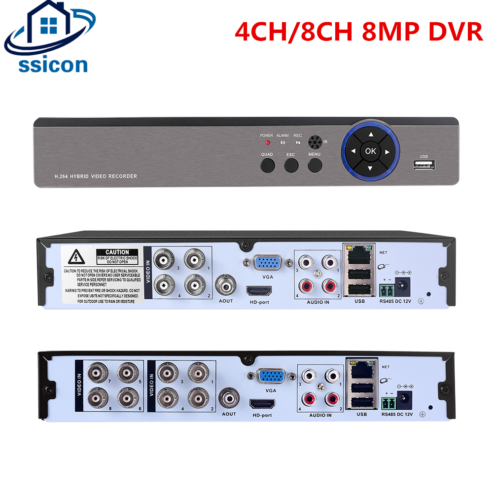 SSICON <font><b>4CH</b></font> 8CH 4K 8MP AHD DVR Hybaird <font><b>NVR</b></font> Xmeye APP Metal Case AHD Camera Video Recorder For 8MP AHD CVI TVI CVBS <font><b>CCTV</b></font> Camera image