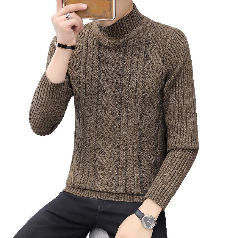 Spring New Casual Men's Sweater Pullover Long Sleeve Youth Popular High Collar Men's Sweater Striped Turtleneck M-3XL