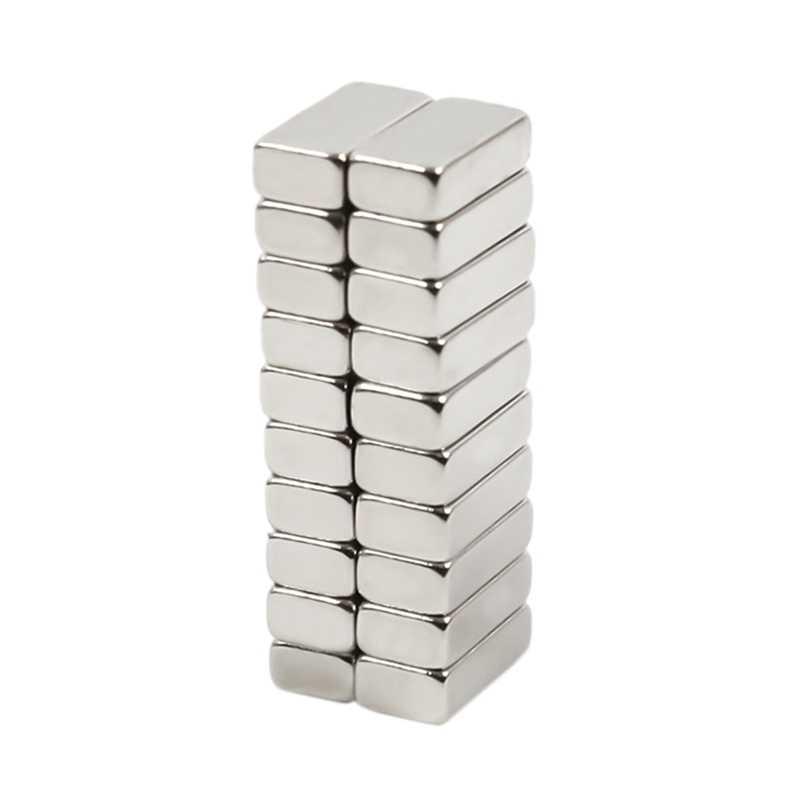 Bloque de imán de neodimio de 10 Mm x 5 Mm x 3Mm, imanes súper fuertes artesanales N42, imanes de imán de tierras raras para nevera, 20 unidades