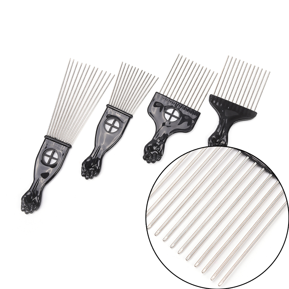 HOT 4 Size Hairdressing Styling Tool Salon Use Black Metal African American Pick Comb Hair Combs Afro Hair Comb