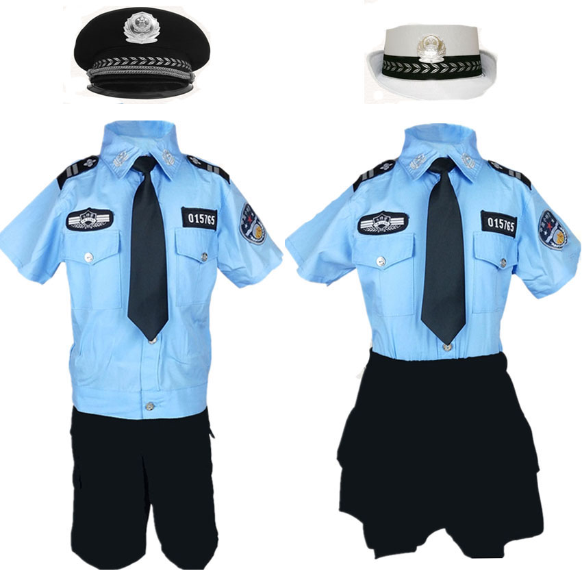 Baby Boy Girl Tiny Cop Cosplay Carnival Halloween Costume For Kids Pleated Skirt Army Blue Policeman Uniform Disguise Clothing