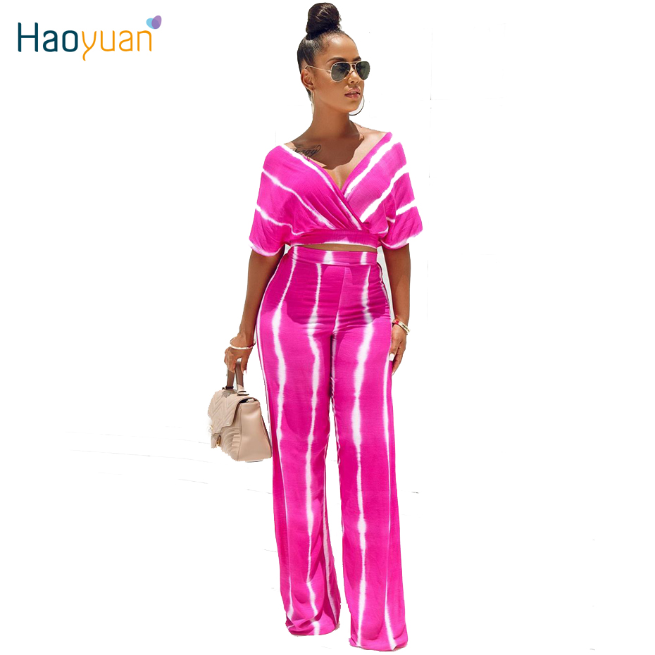 HAOYUAN Tie Dye 2 Piece Set Women Summer Clothes Off Shoulder Crop Top+Wide Leg Pant Sexy Club Matching Sets Two Piece Outfits