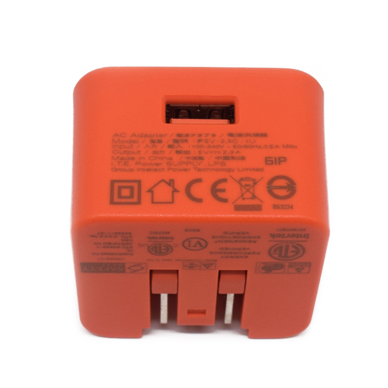 F5V-2.3C-1U  Home Charger Orange AC Adapter For JBL Flip 3 Flip 4 Charge 3 Charge 4 Pulse 2 EU UK Plug - Used