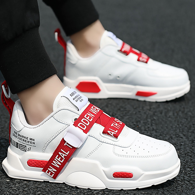 Men's Sneakers Hollow Breathable Trainers Vulcanized Buckle Strap Platform Sneakers White Sneakers Running Shoes Boys