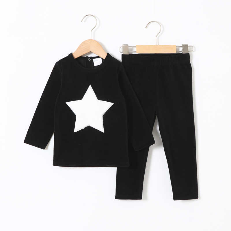 children clothes 2pcs set velour kids clothes baby boy clothes girls clothes round neck long pants heart star children set 2-5T