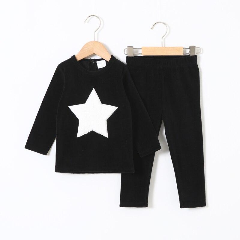 Enfants vêtements 2 pièces ensemble velours enfants vêtements bébé garçon vêtements filles vêtements col rond pantalons longs coeur étoile enfants ensemble 2-5T