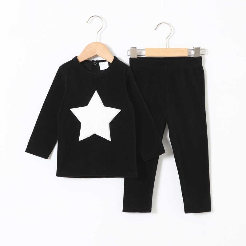 Ropa para niños 2 uds set velour ropa para niños ropa para Bebés Ropa para Niñas Ropa de cuello redondo pantalones largos heart star niños set 2-5T