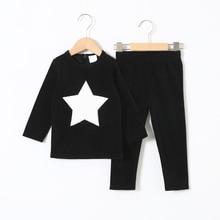 Ubrania dla dzieci 2 szt. Zestaw welurowe ubrania dla dzieci baby boy ubrania dla dziewczynek ubrania wokół szyi długie spodnie serce gwiazda zestaw dla dzieci 2 5T