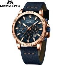 2019 MEGALITH למעלה מותג שעונים Mens ספורט הכרונוגרף עמיד למים מזדמן שעוני מאן אופנה יד שעונים גברים Montre Homme