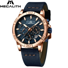 Megalith relógio de pulso esportivo masculino, cronógrafo à prova dágua, casual, moda para homens, 2019