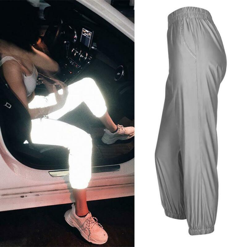 Fashion Women's Reflective Streetwear Trousers Pants Hip Hop Dance Show Party Night Cool Leggings XS-XL